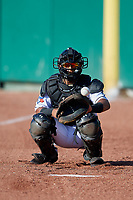 Lansing Lugnuts Gabriel Moreno (23) warms up in the bullpen before a Midwest League game against the Burlington Bees on July 18, 2019 at Cooley Law School Stadium in Lansing, Michigan.  Lansing defeated Burlington 5-4.  (Mike Janes/Four Seam Images)