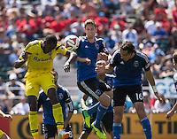 Santa Clara, California - Saturday, April 13, 2014: The San Jose Earthquakes and Columbus Crew played to a 1-1 tie during a Major League Soccer (MLS) match at Buck Shaw stadium.