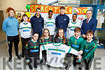 Mercy Mounthawk receive new jerseys from Kerry football stars, Shane Enright and David Clifford at the school on Friday.