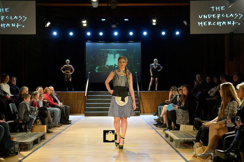 The Underclass Merchant, New Zealand Eco Fashion Exposed, Eco Designer Runway at Notre Dame Performing Arts Centre, Lower Hutt, New Zealand on Saturday 26 July 2014. <br /> Photo by Masanori Udagawa. <br /> www.photowellington.photoshelter.com.