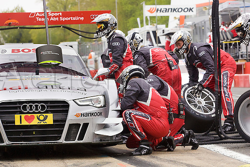 20.05.2012 Brands Hatch, Adrian Tembray driving the ABT Audi A5 undergoes a pit stop during free practice for Sunday's Raceday in the 2012 DTM Championship, Kent, England