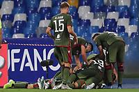 Lucas Castro of Cagliari celebrates with team mates after scoring the victory  goal<br /> Napoli 25-9-2019 Stadio San Paolo <br /> Football Serie A 2019/2020 <br /> SSC Napoli - Cagliari SC<br /> Photo Cesare Purini / Insidefoto