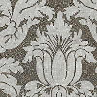 Kingston Lacy, a hand-cut stone mosaic, shown in polished Calacatta and honed Montevideo,is a design by Rogers & Goffigon, reimagined in mosaic.
