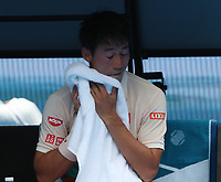 17th January 2019, Melbourne Park, Melbourne, Australia; Australian Open Tennis, day 4; Kei Nishiroki of Japan reacts <br /> during the match against Ivo Karlovic of Croatia