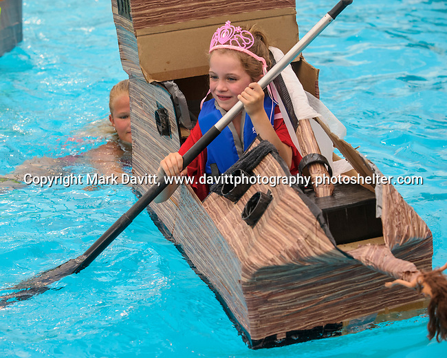 Indianola Park and Recreations hosted cardboard boat races at the Veteran's Memorial Aquatic Center July 22. Lillyana Bradford played a princess in her own kingdoms yacht.