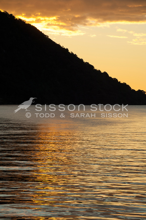 Silhouette of a hill, Doubful Sound, Fiordland National Park, South Island, New Zealand - stock photo, canvas, fine art print
