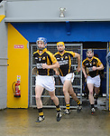 Stan Lineen, Gary Brennan and Tony Kelly of Ballyea emerge for their senior hurling county final at Cusack park. Photograph by John Kelly.