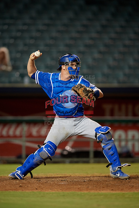 Oklahoma City Dodgers catcher Will Smith (10) throws down to second base in between innings during a Pacific Coast League game against the New Orleans Baby Cakes on May 6, 2019 at Shrine on Airline in New Orleans, Louisiana.  New Orleans defeated Oklahoma City 4-0.  (Mike Janes/Four Seam Images)