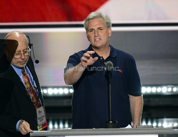 United States House Majority Leader Kevin McCarthy (Republican of California) rehearses prior to the opening of the second day of the 2016 Republican National at the Quicken Loans Arena in Cleveland, Ohio on Tuesday, July 19, 2016.<br /> Credit: Ron Sachs / CNP/MediaPunch<br /> (RESTRICTION: NO New York or New Jersey Newspapers or newspapers within a 75 mile radius of New York City)