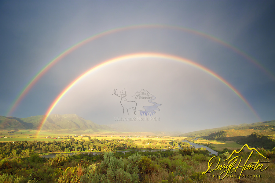 Double Rainbow, thunderstorm, Snake River, Swan Valley, Idaho