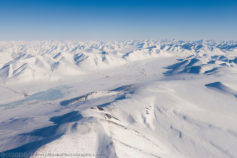Aerial view of the Philip Smith Mountains, Arctic National Wildlife Refuge, East of the Dalton Highway, Brooks Range, Alaska