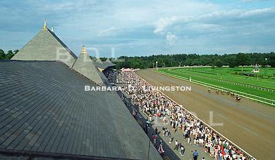 Saratoga. Saratoga Race Course, Saratoga Racetrack, beautiful horse racing, Thoroughbred racing, horse, equine, racehorse, morning mood