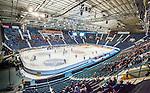Stockholm 2014-10-02 Ishockey Hockeyallsvenskan AIK - BIK Karlskoga :  <br /> Vy &ouml;ver Hovet under matchen mellan AIK och BIK Karlskoga med publik och tomma stolar p&aring; l&auml;ktarna<br /> (Foto: Kenta J&ouml;nsson) Nyckelord:  AIK Gnaget Hockeyallsvenskan Allsvenskan Hovet Johanneshovs Isstadion Bofors BIK Karlskoga supporter fans publik supporters inomhus interi&ouml;r interior
