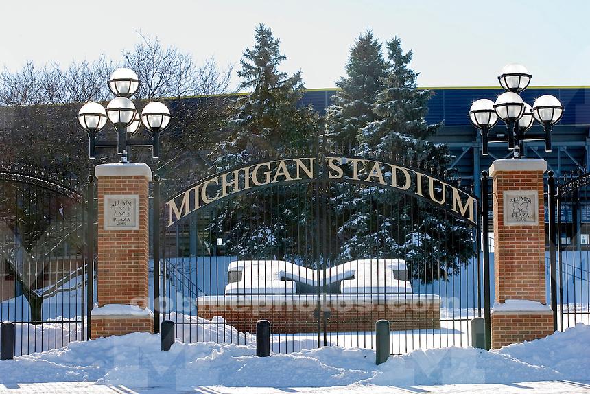 Athletic Campus during winter: The Michigan Stadium Gate.