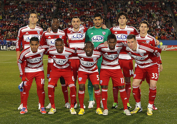 Frisco, TX - MARCH 2: FC Dallas starting eleven against the Colorado Rapids at FC Dallas Stadium on March 2, 2013 in Frisco, Texas. (Photo by Rick Yeatts)