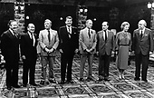 G-7 leaders pose for a group photo at the Chateau Montebello in Montebello, Quebec, Canada on July 20, 1981. From left to right: President Gaston Thorn of the European Commission, Prime Minister Zenko Suzuki of Japan, Chancellor Helmut Schmidt of West Germany, United States President Ronald Reagan, Prime Minister Pierre Elliott Trudeau of Canada, President François Mitterrand of France, Prime Minister Margaret Thatcher of the United Kingdom, and Prime Minister Giovanni Spadolini of Italy. Inclement weather forced the photo session to be moved indoors.<br />