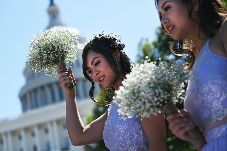 UNITED STATES - JULY 8: A wedding party from Springfield, Va., gathers for photos on the West Front of the Capitol on July 8, 2018.  (Photo By Tom Williams/CQ Roll Call)