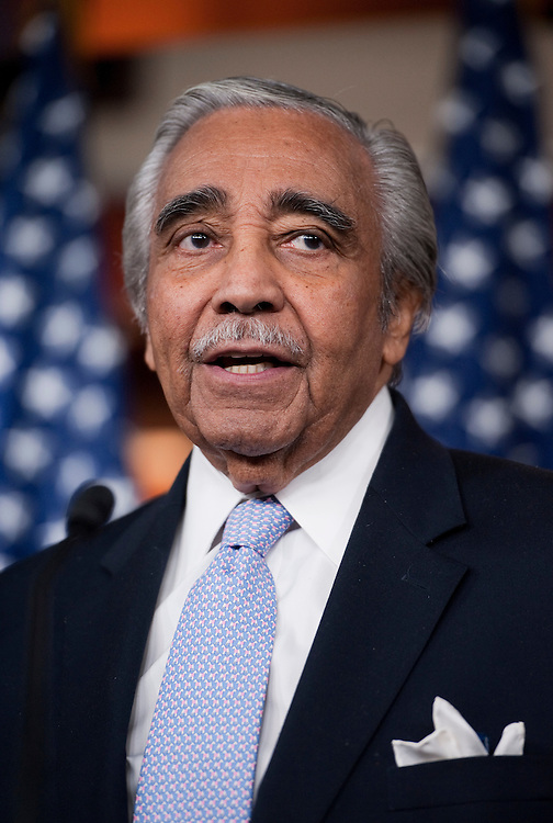 UNITED STATES - NOVEMBER 03:  Rep. Charlie Rangel, D-N.Y., speaks at a news conference with Democratic members of the House Ways and Means Committee in the Capitol Visitor Center to introduce an unemployment insurance extension bill called the Emergency Unemployment Compensation Extension Act of 2011.  (Photo By Tom Williams/CQ Roll Call)