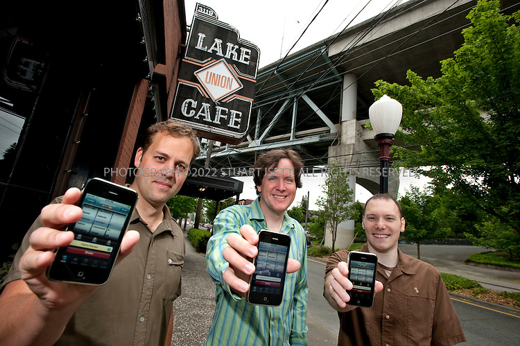 6/5/2009--Seattle, WA, USA..Left to right: Ethan Lowry, 35, Patrick O'Donnell, 31, and Adam Doppelt, 33, co-founders of Urban Spoon. Larger companies are buying iPhone games and acquisitions from smaller developers such as Urban Spoon. Some creators of programs for the iPhone have managed to strike it rich from their bedrooms by selling their work through Apple's App Store. But there is also another way for these programmers to profit: some are getting bought out by larger companies eager to expand their mobile reach. IAC, the Internet company that owns CitySearch, picked up the restaurant recommender UrbanSpoon...©2009 Stuart Isett. All rights reserved