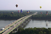 Hot-air Balloons over Tennessee River and Interstate 65 during Alabama Jubilee Hot-Air Balloon Classic