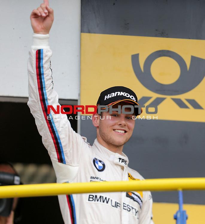 DTM 2015, 07.Lauf Oschersleben, 11.09. - 13.09.15 <br /> Podium:<br /> Feiert seinen ersten Sieg in der DTM Tom Blomqvist (SWE#31) BMW Team RBM BMW M4 DTM<br /> <br /> <br /> <br /> <br /> <br /> Foto &copy; nordphoto /  Bratic