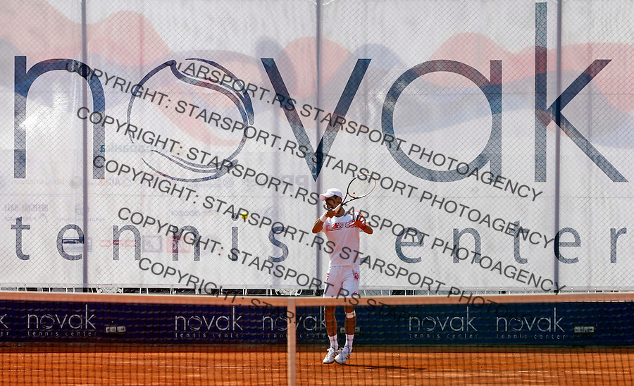 "Novak Djokovic, training session during ATP 250 series tennis tournament ""Serbia Open"" in Belgrade, Serbia, Saturday, April 23. 2011. (credit image & photo: Pedja Milosavljevic / thepedja@gmail.com / +381641260959)"
