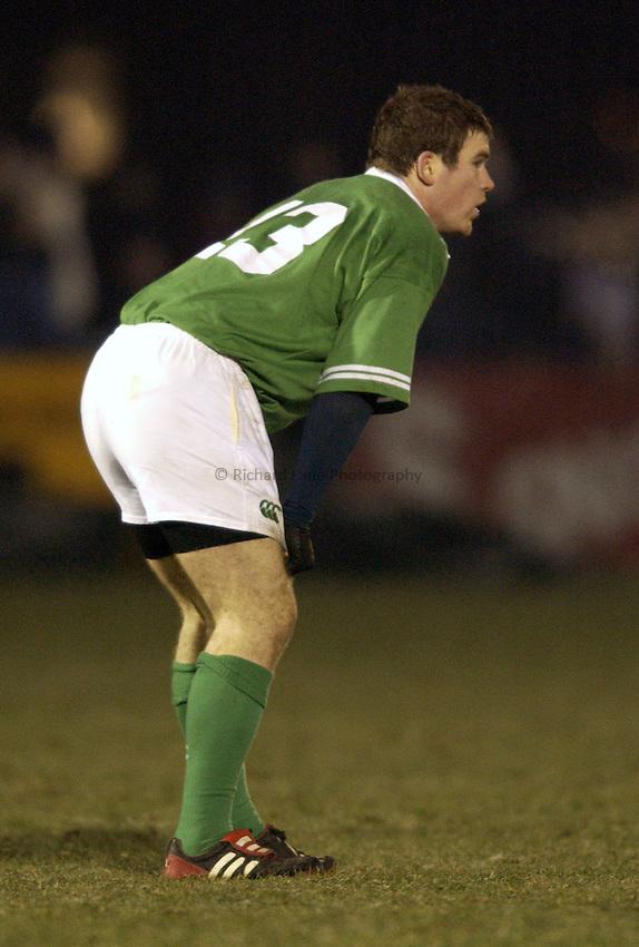 .Photo. Jed Wee.Scotland A v Ireland A, Rugby Union Friendly, Bridgehaugh, Stirling. 15/02/2003..Ireland's Gordon Darcy.