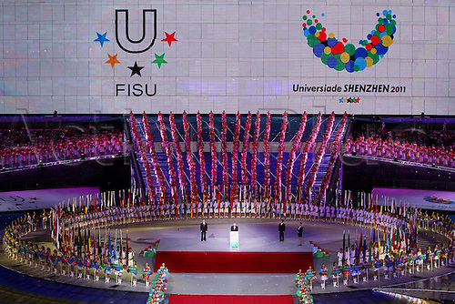 12.08.2011. Shenzhen.  George E Killian 2nd l ON Stage The International University Sports Federation FISU President adrresses The Opening Ceremony of The 26th Summer Universiade in Shenzhen A City of South China s Guangdong Province