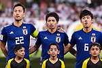 Yoshida Maya of Japan (R), Shibasaki Gaku of Japan (C)  and Endo Wataru of Japan (R) listens to the national anthem prior to the AFC Asian Cup UAE 2019 Semi Finals match between I.R. Iran (IRN) and Japan (JPN) at Hazza Bin Zayed Stadium  on 28 January 2019 in Al Alin, United Arab Emirates. Photo by Marcio Rodrigo Machado / Power Sport Images