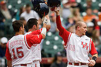 Houston Cougars catcher Chris Wallace against the Texas Tech Red Raiders on Sunday March 7th, 2100 at the Astros College Classic in Houston's Minute Maid Park.  (Photo by Andrew Woolley / Four Seam Images)