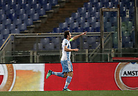 Europa League quarter-final 1st leg <br /> S.S. Lazio - FC Salzburg  Olympic Stadium Rome, April 5, 2018.<br /> Lazio's captain Senad Lulic celebrates after scoring during the Europa League match between Lazio and Salzburg at Rome's Olympic stadium, April 5, 2018.<br /> UPDATE IMAGES PRESS/Isabella Bonotto