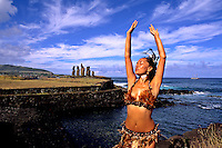 Woman in Costume at Tahai Platform in Easter Island during Tapati Festival Rapa Nui
