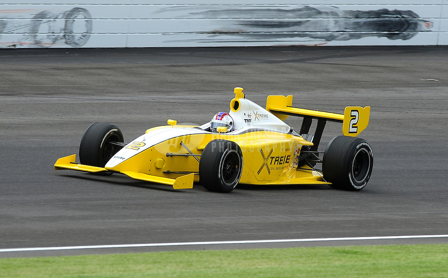 May 22, 2009; Indianapolis, IN, USA; Indy Light driver Andrew Prendeville during the Freedom 100 at the Indianapolis Motor Speedway. Mandatory Credit: Mark J. Rebilas-