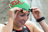 01 SEP 2013 - SARTROUVILLE, FRA - Vicky Holland, racing for Triathlon Ardennes, prepares for the start of the women's Grand Prix de Triathlon de Sartrouville in Sartrouville, France (PHOTO COPYRIGHT © 2013 NIGEL FARROW, ALL RIGHTS RESERVED)