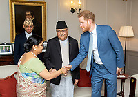 Prince Harry Duke of Sussex meets the Prime Minister of Nepal KP Sharma Oli and his wife Radhika Shakya during a private audience at Kensington Palace, London. Photo Credit: ALPR/AdMedia