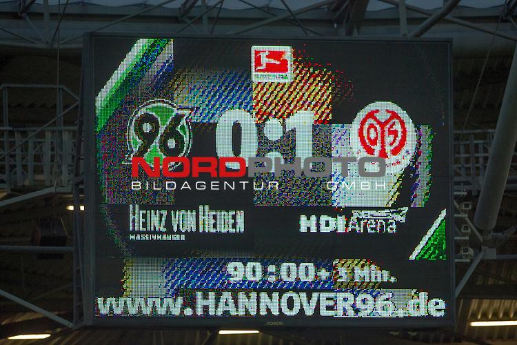 06.02.2016, HDI Arena,  Hannover, GER, 1.FBL, Hannover 96 vs 1. FSV Mainz 05, <br /> <br /> im Bild / picture shows<br /> Anzeigetafel / Endstand, <br /> <br /> Foto &copy; nordphoto / Ewert