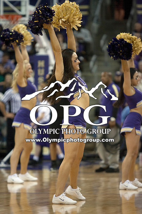 Dec 22, 2011:  Washington cheerleader Siobhan Brosnan entertained the crowed during a timeout against Cal State Northridge.  Washington defeated Cal State Northridge 74-51 at Alaska Airlines Arena Seattle, Washington. ..