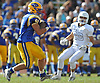 East Meadow running back No. 2 Billy Piano dashes downfield during a Nassau County Conference I varsity football game against Oceanside at East Meadow High School on Saturday, September 26, 2015. Oceanside won by a score of 14-7.<br /> <br /> James Escher