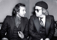 1978 FILE PHOTO<br /> New York City<br /> Bernie Taupin Elton John at Studio 54<br /> Photo by Adam Scull-PHOTOlink.net