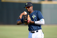 Shortstop Shervyen Newton (3) of the Columbia Fireflies warms up prior to a game against the Augusta GreenJackets on Saturday, June 1, 2019, at Segra Park in Columbia, South Carolina. Columbia won, 3-2. (Tom Priddy/Four Seam Images)