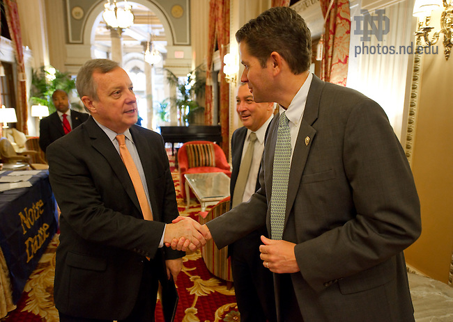 Nov. 10, 2011; U.S. Senator from Illinois Dick Durbin, left, greets Associate Vice President Tim Sexton at the Notre Dame Forum on Global Development in Washington D.C....Photo by Matt Cashore/University of Notre Dame