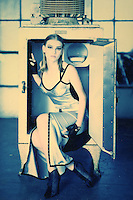 Monitor Top Refrigerator and Metalic Dress - Cross Process 4x5 film scan