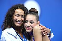 September 1, 2017 - Pesaro, Italy - EVITA GRISKENAS with coach Angelina Yovcheva of USA, AA final at 2017 World Championships Pesaro, Italy.
