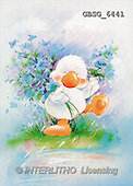 Ron, CUTE ANIMALS, Quacker, paintings, duck, blue flowers(GBSG6441,#AC#) Enten, patos, illustrations, pinturas