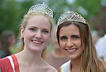 Wantagh, New York, USA. July 4, 2015. L-R, KERI BALNIS, Miss Wantagh 2015,and HAILEY ORGASS, Miss Wantagh 2012, pose together after The Miss Wantagh Pageant ceremony, a long-time Independence Day tradition on Long Island, held at Wantagh School after the town's July 4th Parade. Since 1956, the Miss Wantagh Pageant, which is not a beauty pageant, crowns a high school student based mainly on academic excellence and community service.