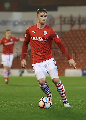 17th January 2017, Oakwell, Barnsley, South Yorkshire, England; FA Cup 3rd round replay, Barnsley versus Blackpool; Barnsley's James Bree on the ball