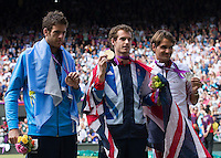 ..Tennis - OLympic Games -Olympic Tennis -  London 2012 -  Wimbledon - AELTC - The All England Club - London - Sunday 5th August  2012. .© AMN Images, 30, Cleveland Street, London, W1T 4JD.Tel - +44 20 7907 6387.mfrey@advantagemedianet.com.www.amnimages.photoshelter.com.www.advantagemedianet.com.www.tennishead.netAndy Murray, Roger Federer, Juan Martin Del Potro..Tennis - OLympic Games -Olympic Tennis -  London 2012 -  Wimbledon - AELTC - The All England Club - London - Sunday 5th August  2012. .© AMN Images, 30, Cleveland Street, London, W1T 4JD.Tel - +44 20 7907 6387.mfrey@advantagemedianet.com.www.amnimages.photoshelter.com.www.advantagemedianet.com.www.tennishead.net