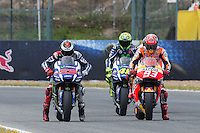Jorge Lorenzo, Marc Marquez and Valentino Rossi during the qualifying in Motorcycle Championship GP, in Jerez, Spain. April 23, 2016