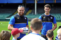 Tom Dunn and Adam Hastings. Bath Rugby Family Festival of Rugby, on August 8, 2015 at the Recreation Ground in Bath, England. Photo by: Patrick Khachfe / Onside Images