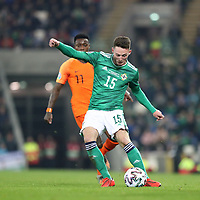 16th November 2019; Windsor Park, Belfast, County Antrim, Northern Ireland; European Championships 2020 Qualifier, Northern Ireland versus Netherlands; Jordan Thompson of Northern Ireland puts a cross into the Dutch area - Editorial Use